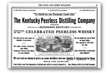 Kentucky Peerless advertisement, Wine and Spirit Bulletin, circa 1916