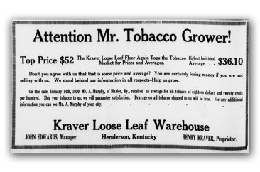 Advertisement for Kraver Tobacco House, circa 1920
