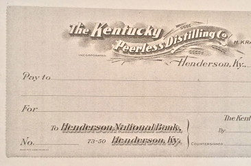 The Kentucky Peerless Distilling Company blank check, circa 1910